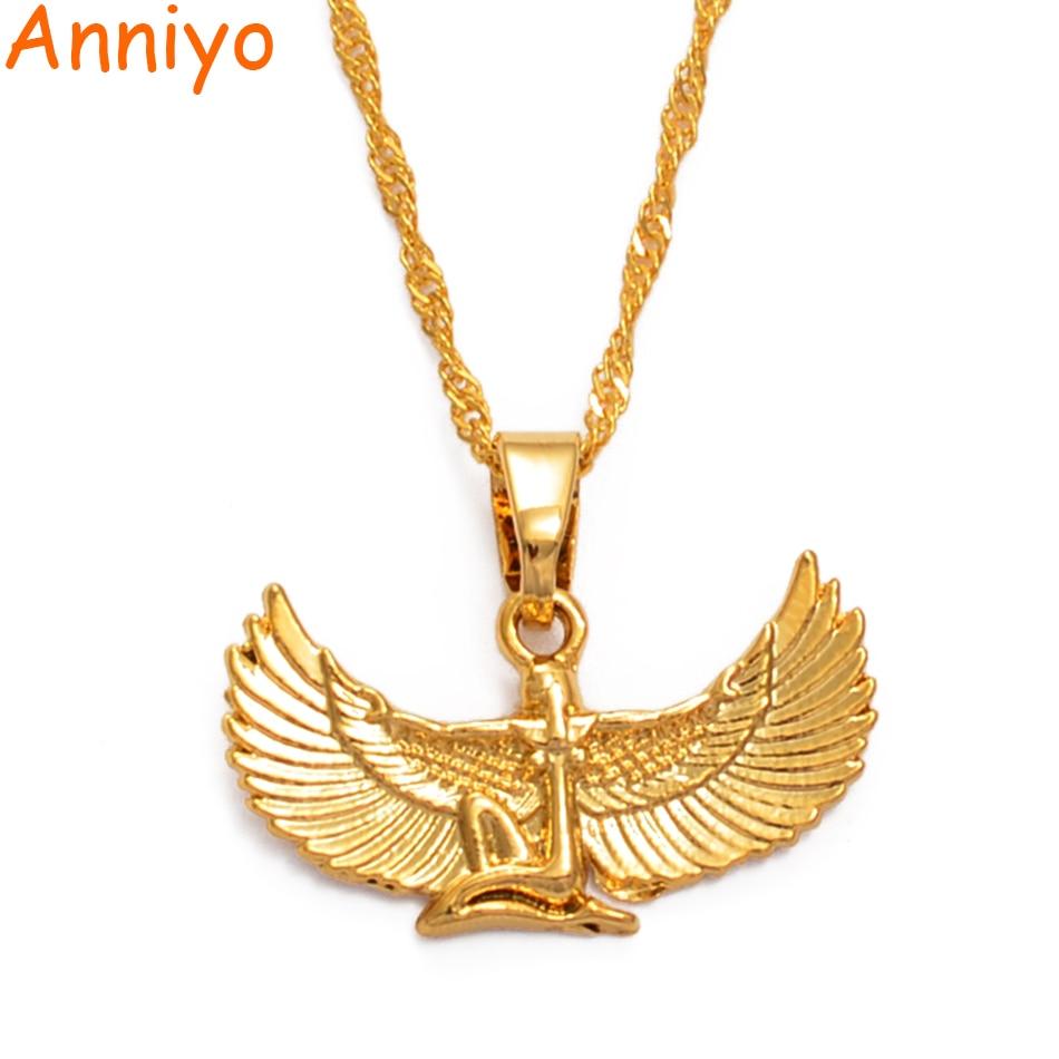 Anniyo Fab エジプト女神ネックレスゴールド色の翼チェーンネックレスアンクよだれかけ異教ジュエリーエジプト宗教 #220206