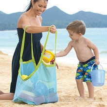 Beach Vacation Toys Storage Bag Tote Kids Folding Sand Away Net Bags Sheer Shopping Bag