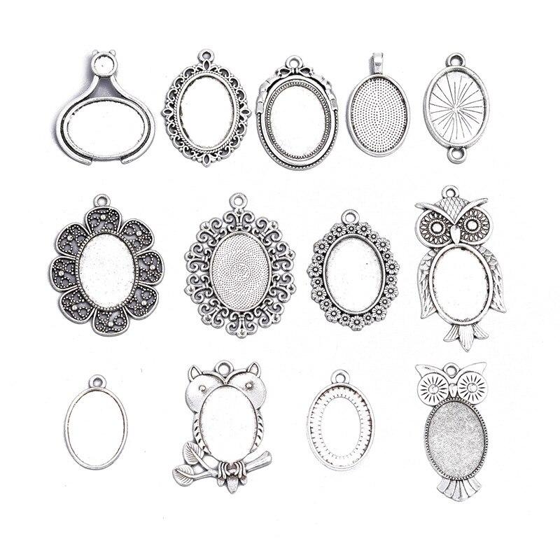 10 pièces/lot 18x25mm divers Styles anciens Cabochons ovales camée Bases lunette plateaux pour pendentif collier bricolage fabrication de bijoux