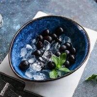 japanese style deep blue ceramic bowl creative irregular soup bow noodle fruit salad bowl household rice bowl kitchen tableware