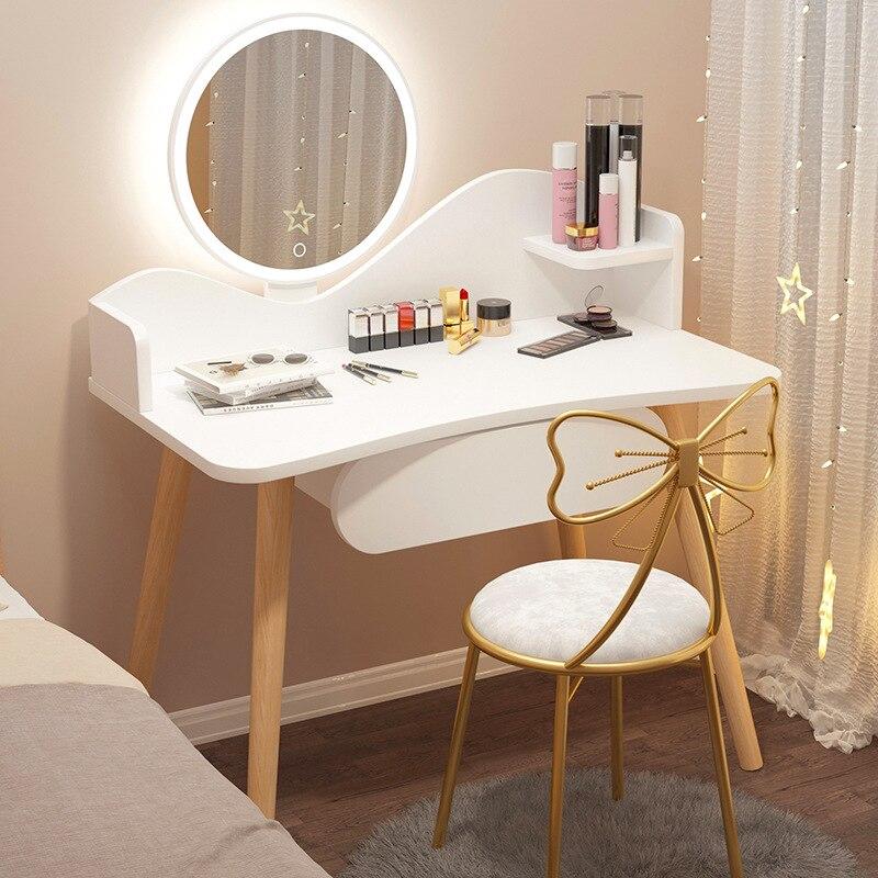 Современный минималистичный туалетный столик для спальни, шкаф для хранения, встроенный сетчатый маленький скандинавский макияжный столи...