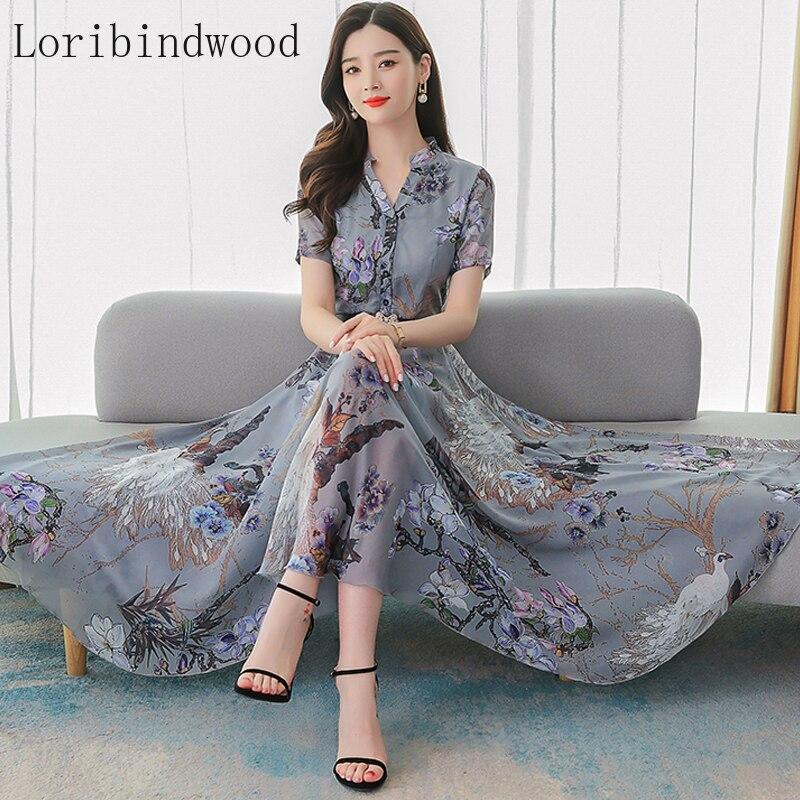 2020 verão nova moda temperamento cintura abraçando magro seda floral impresso vestido estilo ocidental saia de balanço de seda