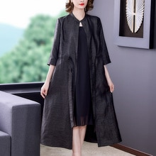 2021 Autumn New Black Turtle Pattern Real Silk Gambiered Guangdong Silk Dress Elegant Slimming Long