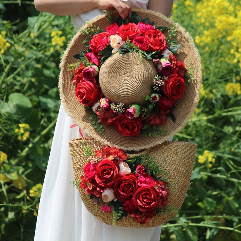 Bolso tejido de mimbre para mujer, bolso de paja para mujer, gran capacidad, flores artificiales, sombrero de sol de playa, 2020, nuevo diseño, conjunto de bolso de viaje