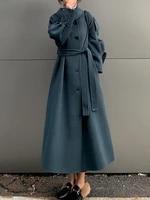hepburn style double sided cashmere coat womens 2021 autumn winter new woolen korean style high end loose woolen coat