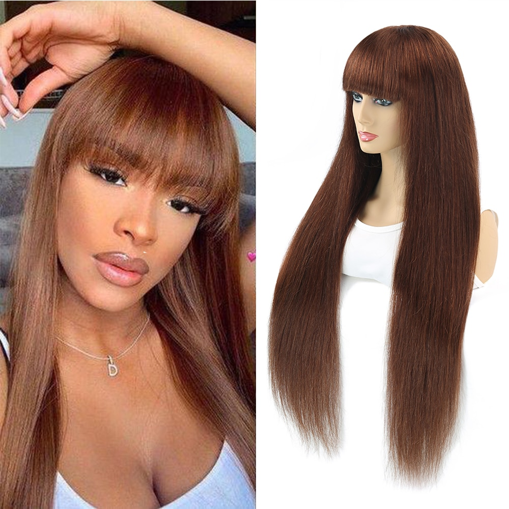 Brazilian Straight Ombre Human Hair Wigs For Women Full Wig With Bang Silk Brown Purple Highlight Ma