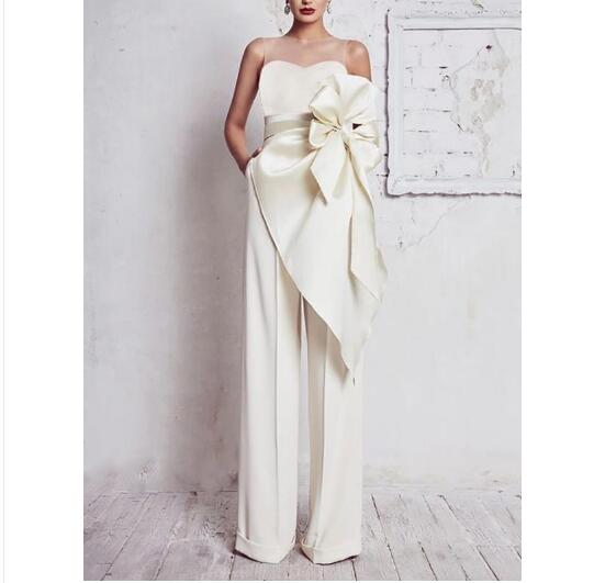 White Strapless Off Shoulder Bow Rompers Women Jumpsuit Sleeveless Backless Sexy Club Wide Leg Pants Palysuits Overalls women sexy v neck jumpsuit casual wide leg stripe overalls off shoulder backless playsuit