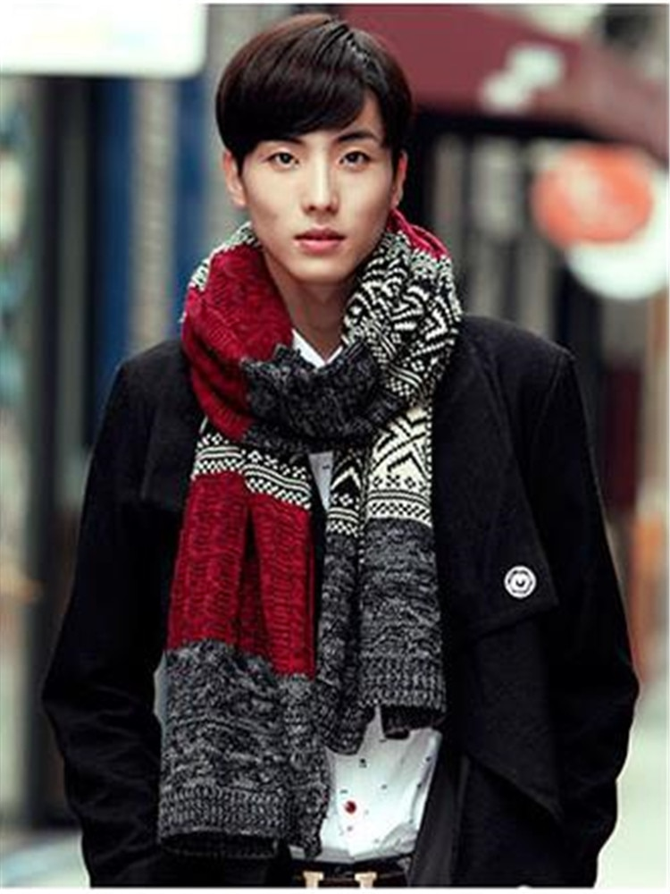 Men's new winter scarf couples twist collar to keep warm with thick long scarf in South Korea QL-02