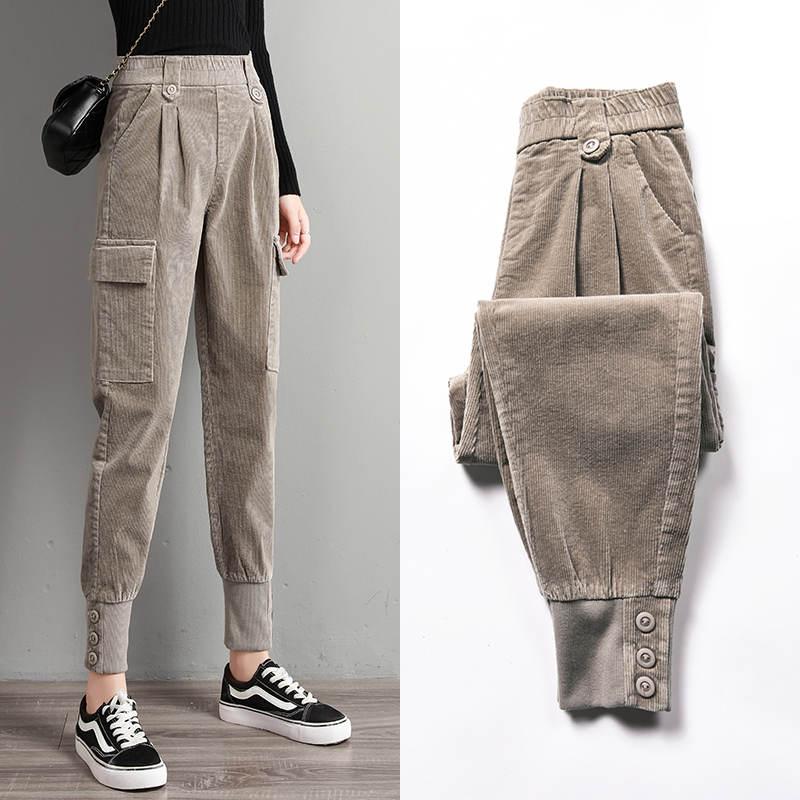 3XL حجم كبير ملابس الشارع الشهير غير رسمية البضائع السراويل النساء خمر الخريف الشتاء طويل سروال قصير جيوب سوداء السيدات بنطلون C6781