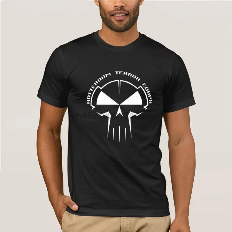 T-Shirt Summer Novelty Cartoon T Shirt Rotterdam Terror Corps T-Shirt Schwarz Hardstyle Gabba Hardcore Techno Movie Shirt