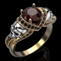 2021 new trendy vintage steampunk skull round red zircon rings for women men luxury gold color female jewelry punk party gifts
