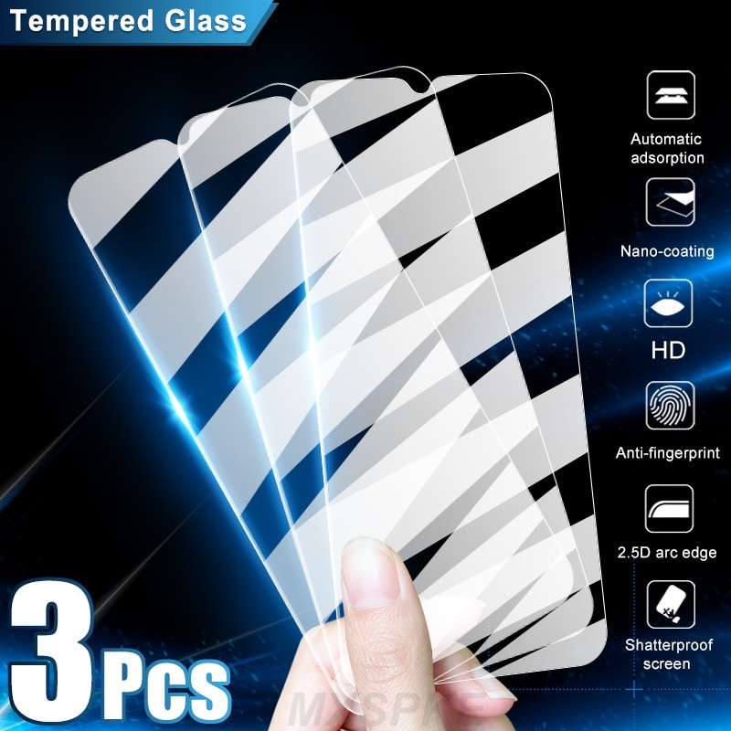 3Pcs Tempered Glass For Xiaomi Mi 9 10 10T Lite Pro 10i 9T 9 SE Screen Protector Glass For Xiaomi Poco M3 X3 F1 C3 X2 M2 Glass