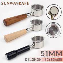 Café bottomless portafilter para delonghi ec680/ec685 filtro 51mm de aço inoxidável substituição filtro cesta café acessórios