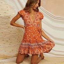 TEELYNN short sleeve mini wrap dresses for women 2020 orange floral print v neck summer dress vestidos boho beach casual robe
