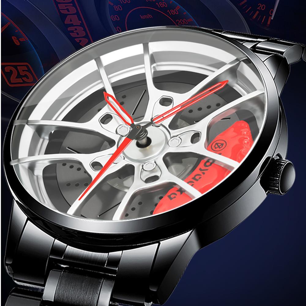 Мужские спортивные часы 2021, наручные часы с автомобильным колесом, модные 3D Автомобильные Гонки, дизайнерские водонепроницаемые наручные ч...