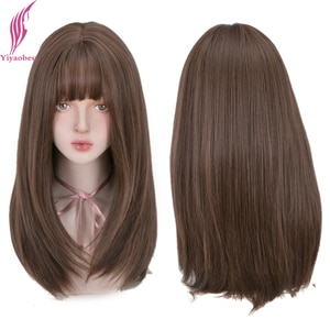 Yiyaobess 18inch Long Straight Synthetic Wig With Bangs Brown Natural Hair African American Wigs For Women Pelucas Naturales