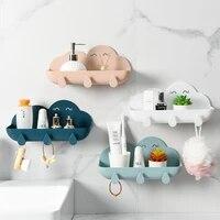 Boite de rangement de toilette  organisateur daccessoires de salle de bains  boite de rangement de cosmetiques a crochet  boite de rangement de douche murale en plastique sans poincon