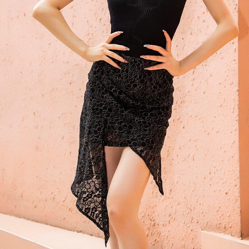 أسود اللاتينية تنورة رقص المرأة مثير الممارسة غير النظامية تنورة السامبا تشا تشا رومبا تانغو السالسا الرقص الملابس تنورة قصيرة BL5276