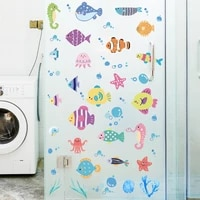 luanqi cartoons marine life fish wall stickers for home decoration wall decal kids children rooms bathroom pvc wallpaper mural