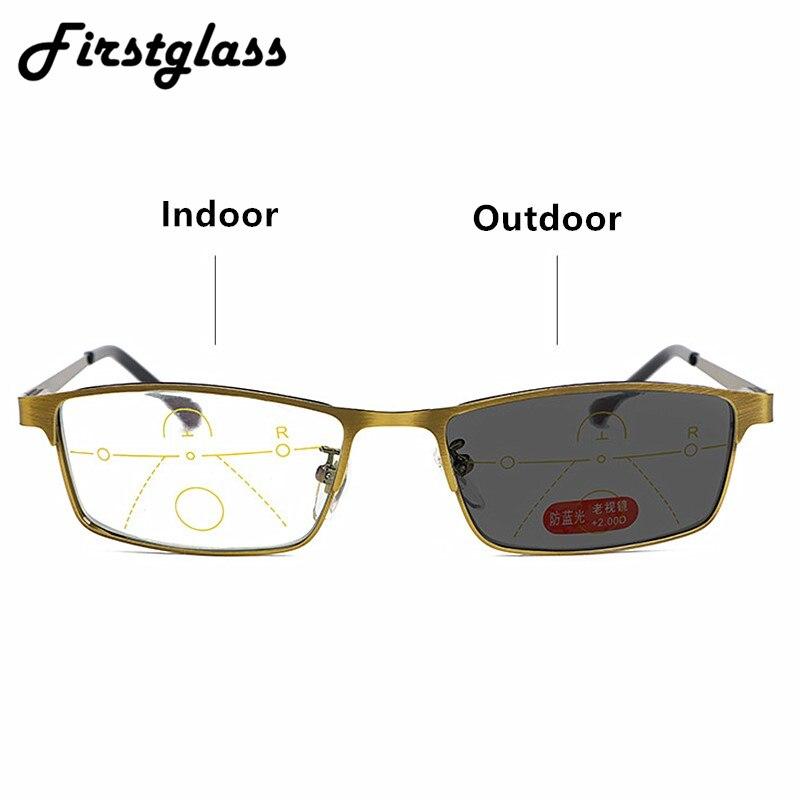 Transición fotocrómico progresivo gafas de lectura multifocales bifocales hombres mujeres Anti-Blue-Ray resina presbiopic gafas 1,5 2,0