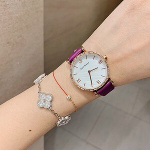 Rose Gold Diamond Women Watches Waterproof Bracelet Watch Lady Real Leather Dress Watches Women Crystal Quartz Watches Girl