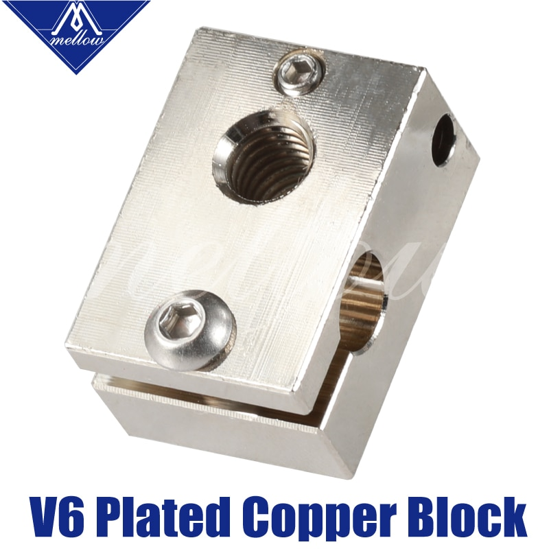 Bloco duplo do calefator do cobre da extrusão v6 do cnc da qualidade superior mellow para a impressora 3d e3d v6 de pt100 j-head hotend