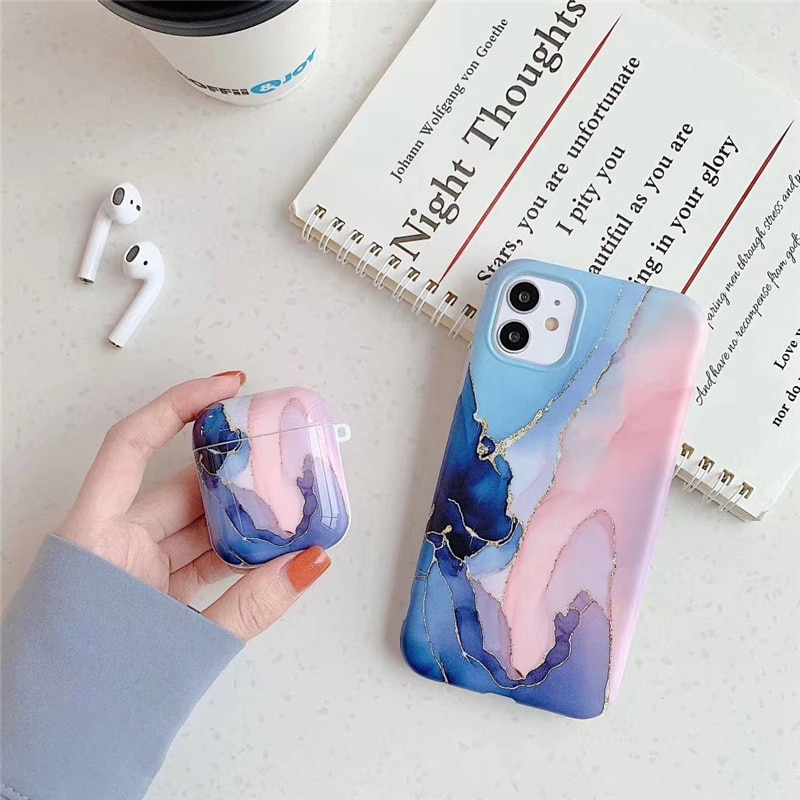 AliExpress - Luxury agate marble Case For iphone 11 11Pro 12 12Pro Max X XR XS 7 8Plus for Apple airpods 1 2 case soft silicone case cover