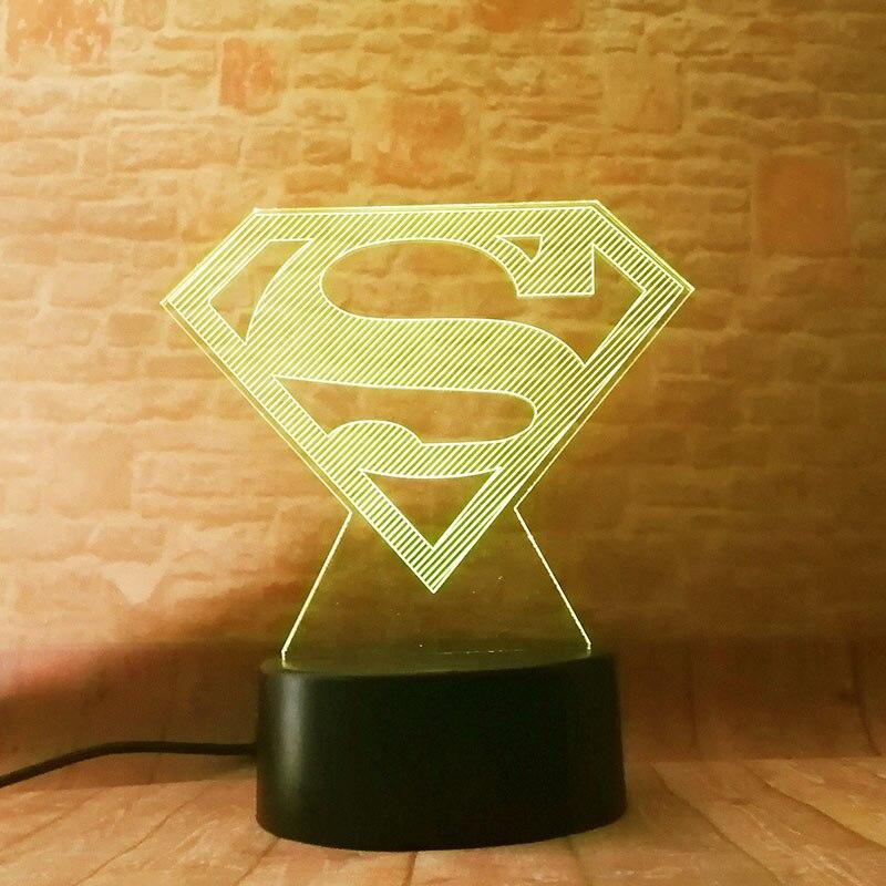 3D Flashing Nightlight Visual Illusion Desk Light DC Super Hero Figuras Superman Logo Mark Model Toys