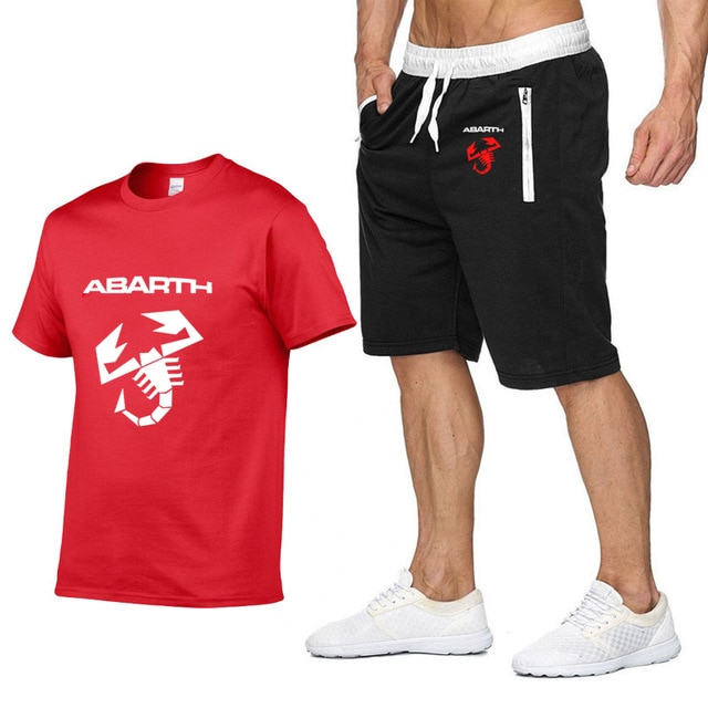 Mens Short sleeve for Abarth Car Logo Summer Mens t Shirt HipHop Harajuku high quality Cotton T Shirts pants suit Sportswear A