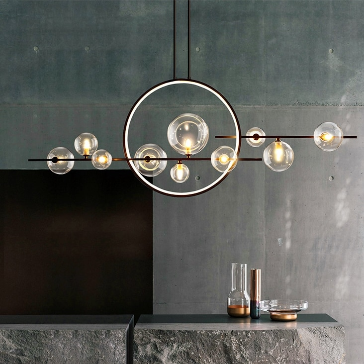 الحديثة LED الجدة ثريا زجاجية بشكل فقاعة الشمال غرفة الطعام مصباح إضاءة المطعم جزيرة المطبخ ديكور المنزل مصابيح تعليق للزينة