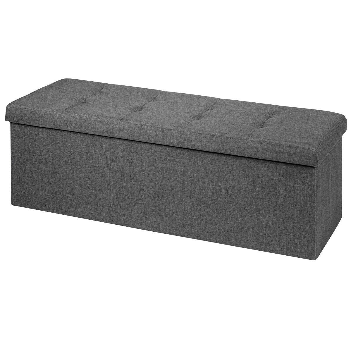 sobuy fsr30 w storage bench 3 drawers Fabric Folding Storage Ottoman Storage Chest W/Divider Bed End Bench Drak Grey  HW65883GR