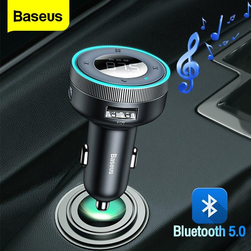 Baseus جهاز إرسال موجات FM للسيارة سماعة لاسلكية تعمل بالبلوتوث-متوافق 5.0 محول يدوي Aux استقبال الصوت مشغل MP3 USB شاحن سيارة سريع