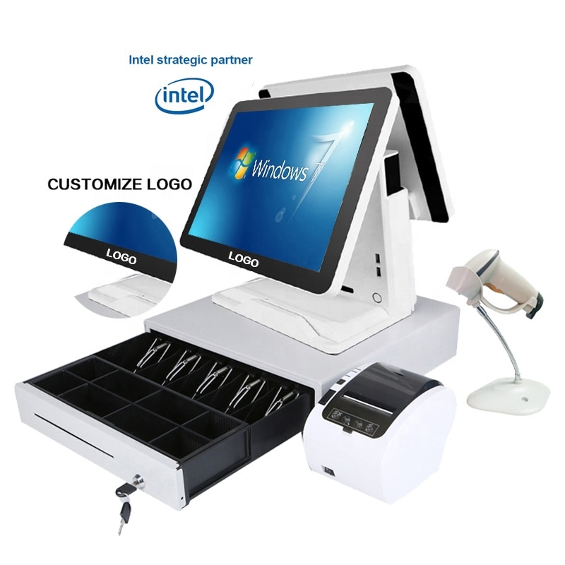 ComPOSxb Hot Selling 15+15'' capacitive touch screen Cash Register dual screen pos system with software Point of Sales for sale