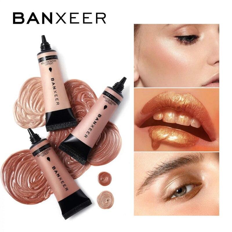 Жидкий хайлайтер BANXEER, Осветляющий крем для макияжа, мерцающий контур, бронзатор, сияющий, для лица, 6 цветов