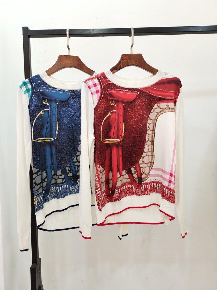 كنزات WZ12248 موضة النساء 2021 المدرج الفاخرة العلامة التجارية الشهيرة الأوروبية تصميم نمط الحفلات ملابس نسائية