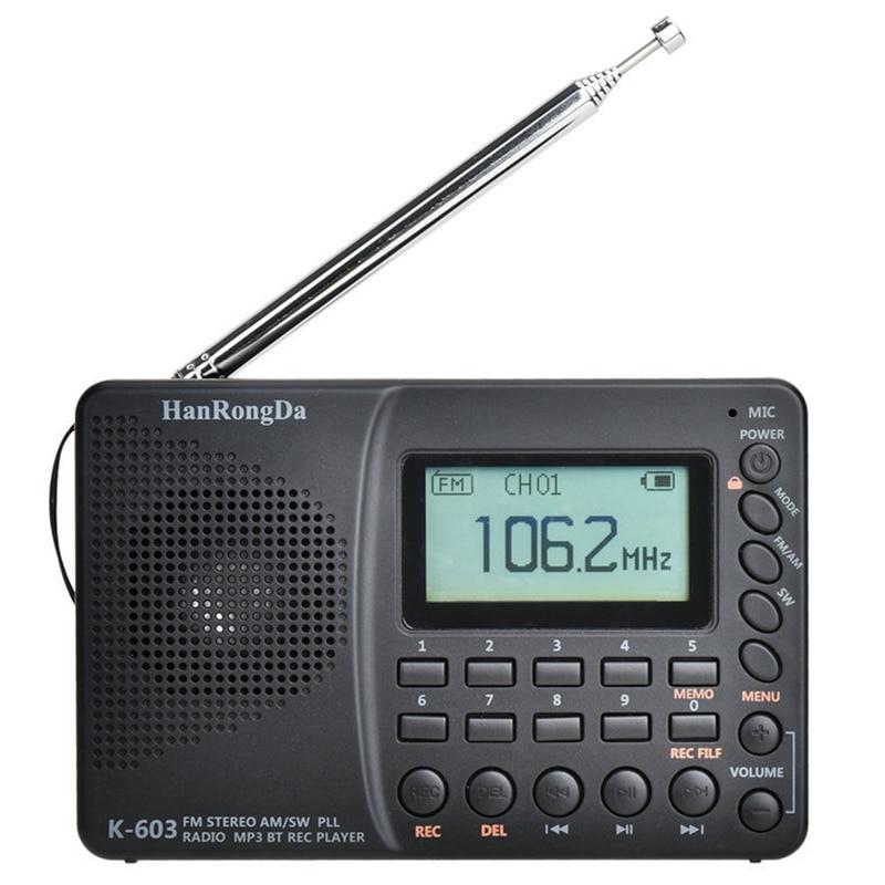 Портативное радио HanRongDa K-603, полнодиапазонное радио, Bluetooth, FM, AM, SW, карманное радио, MP3, цифровой рекордер, поддержка Micro-SD карт