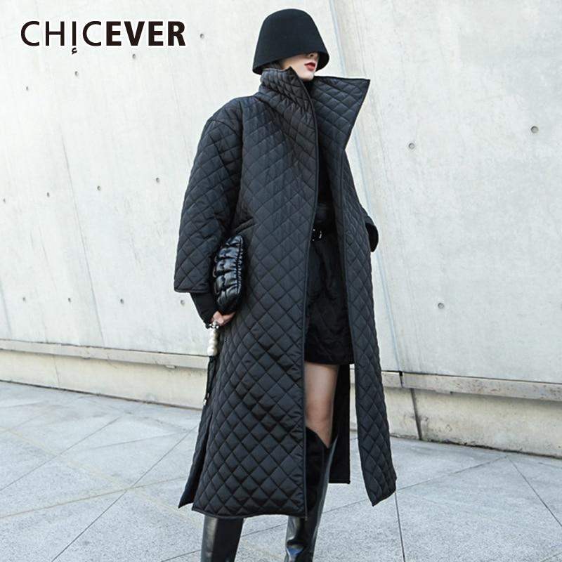 CHICEVER-معطف نسائي من القطن الأسود ، ملابس عصرية ، طية صدر السترة ، أكمام طويلة ، شق من الجانب ، جيوب سميكة ، 2020
