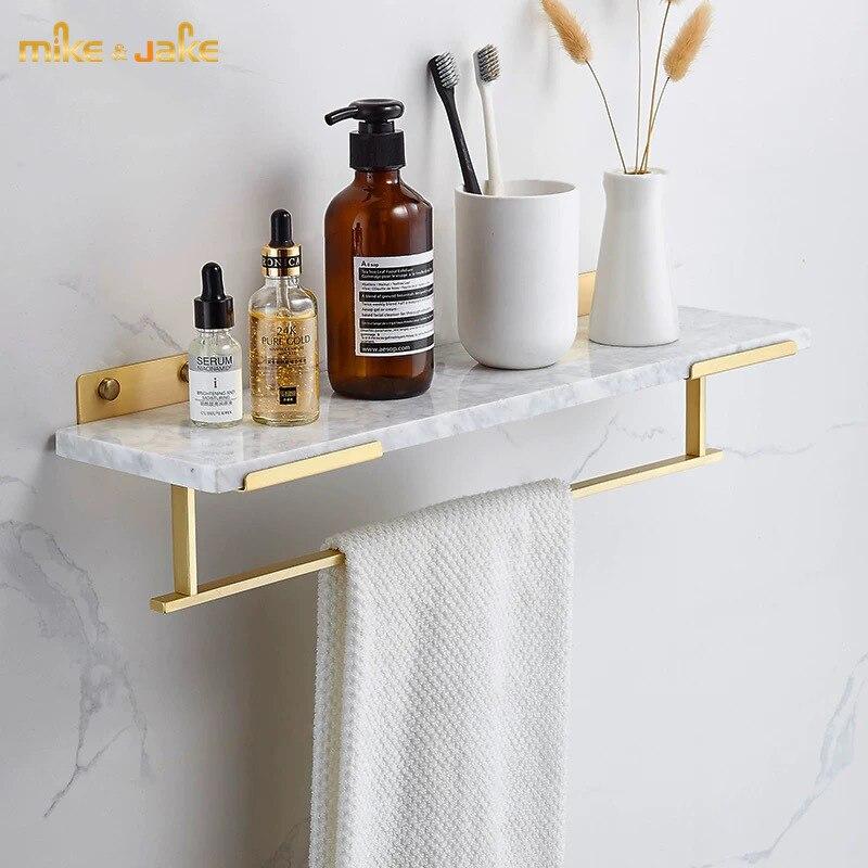 فرشاة حمام نحاسية ذهبية ، مع رف mable ، قضيب منشفة حمام ، رف حمام فاخر على الطراز الرخامي ، ملحق