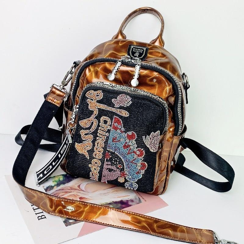 2021 New Women's Backpack Fashion Rhinestone Bolso Mujer Luxury Designer Print Shining Leather Mochila Mujer Ita Shoullder Bags