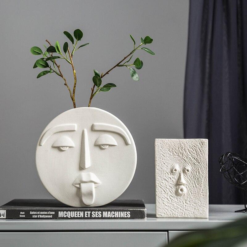 Vasos de cerâmica brancos para decoração, decoração em hogar, vasos de flores da sala de estar, branco e nórdico