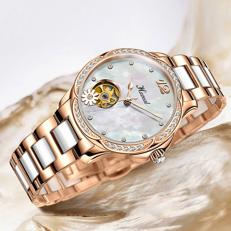 HAZEAL Ladies Mechanical Watches Shell Dial Elegant Seagull Movement Women Skeleton Watch With Ceramic Stainless Steel Strap enlarge