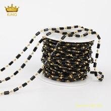 Chaînes de chapelet en verre cristal noir de 5 mètres pour la fabrication de bijoux, résultats de petites chaînes de perles en verre Rectangle