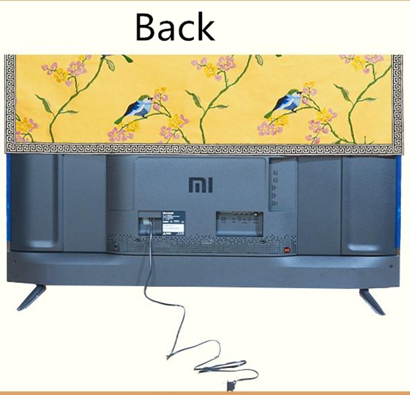 Custom Embroidery Magnolia Flower TV Set Dust Covers Chinese Hanging Desktop LCD TV Cotton Linen Protection Sets Cover Cloth enlarge