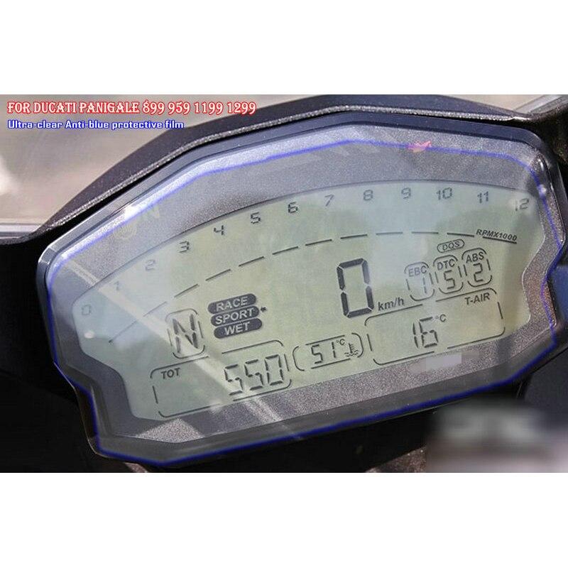 Para ducati panigale 899 959 1199 1299 r protetor de tela azul luz à prova de explosão da motocicleta cluster scratch proteção filme