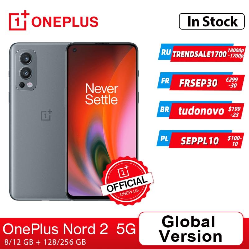 هاتف ذكي OnePlus Nord 2 5G الإصدار العالمي أبعاد 1200-AI 8GB 128GB 50mp AI شحن بالكاميرا 65 90Hz عرض سائل AMOLED