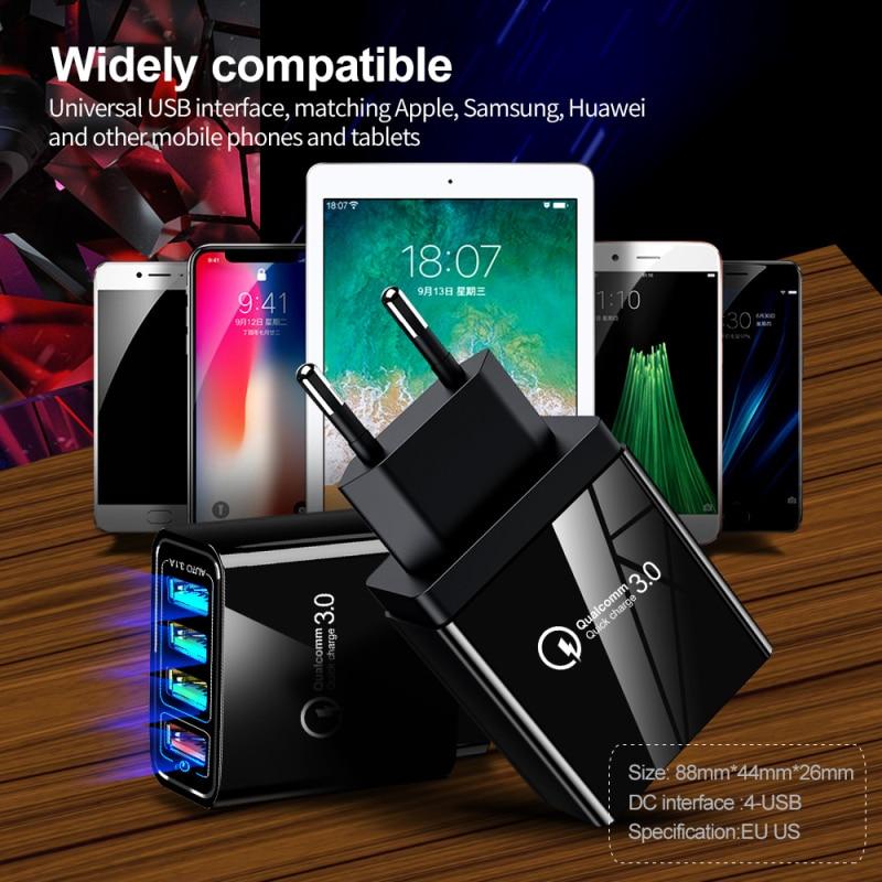 Nouveau 1pc Crouch Charge rapide 3.0 Portable montage mural chargeur Mobile pour IPhone tablette PC téléphone Xiaomi USB chargeur chargeur rapide Chargerv