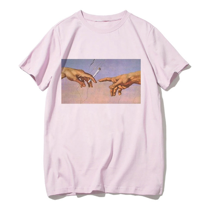 Vaporwave T Shirt Harajuk Tops T-shirt Sad Girl Retro Anime Men Aesthetic Michelangelo Japanese Male/women Tee Shirt Sexy Tshirt