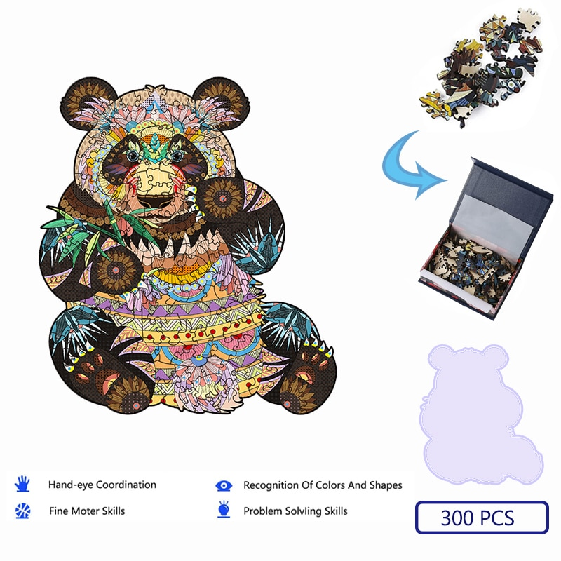 Unique Panda 3D Wooden Puzzle Adult Kids Jigsaw Puzzles Animal Puzzles Boutique Gift Box Packaging Children Christmas Gifts Toys недорого