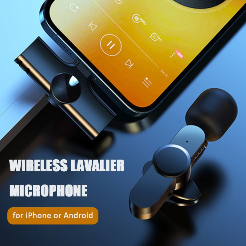 Wireless Lavalier Microphone Portable Audio Video Recording Mini Mic for iPhone Android Live Broadcast Gaming Phone Microfonoe enlarge