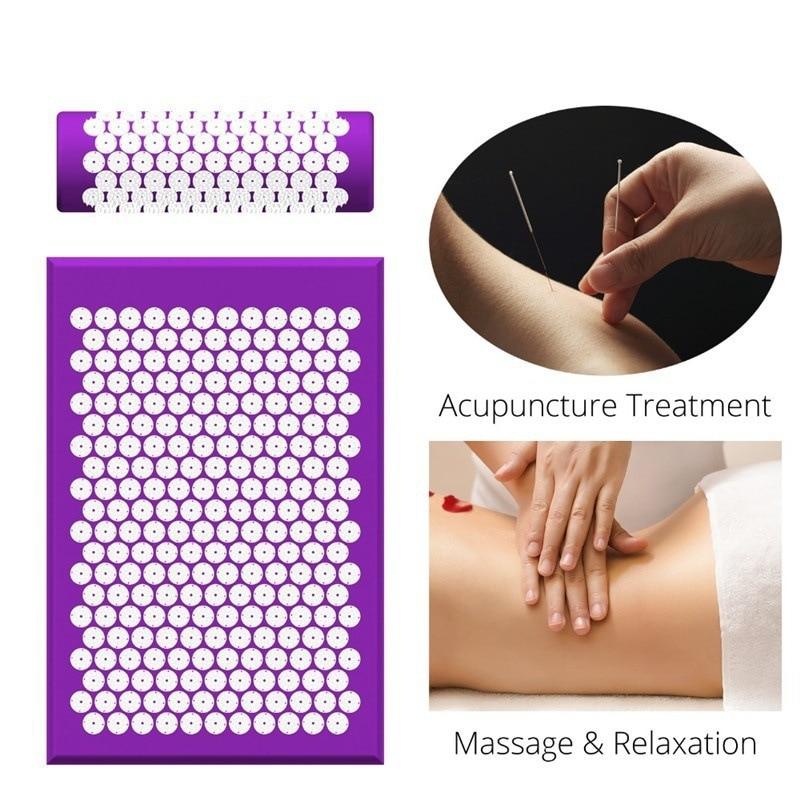 Almofada de Massagem Esteira e Travesseiro Alívio do Estresse Yoga Acupressão Conjunto Pescoço Volta pé Massageador Dor Acupuntura Massagem Almofada